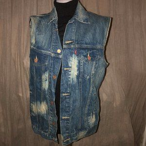 Levi's Strauss Classic acid wash denim Jean Vest L